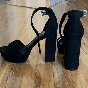 Black suede block heels